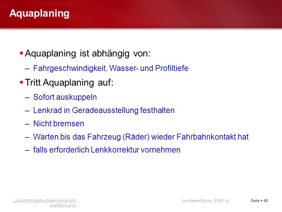 Aquaplaning Aquaplaning ist abhängig von: Tritt Aquaplaning auf: