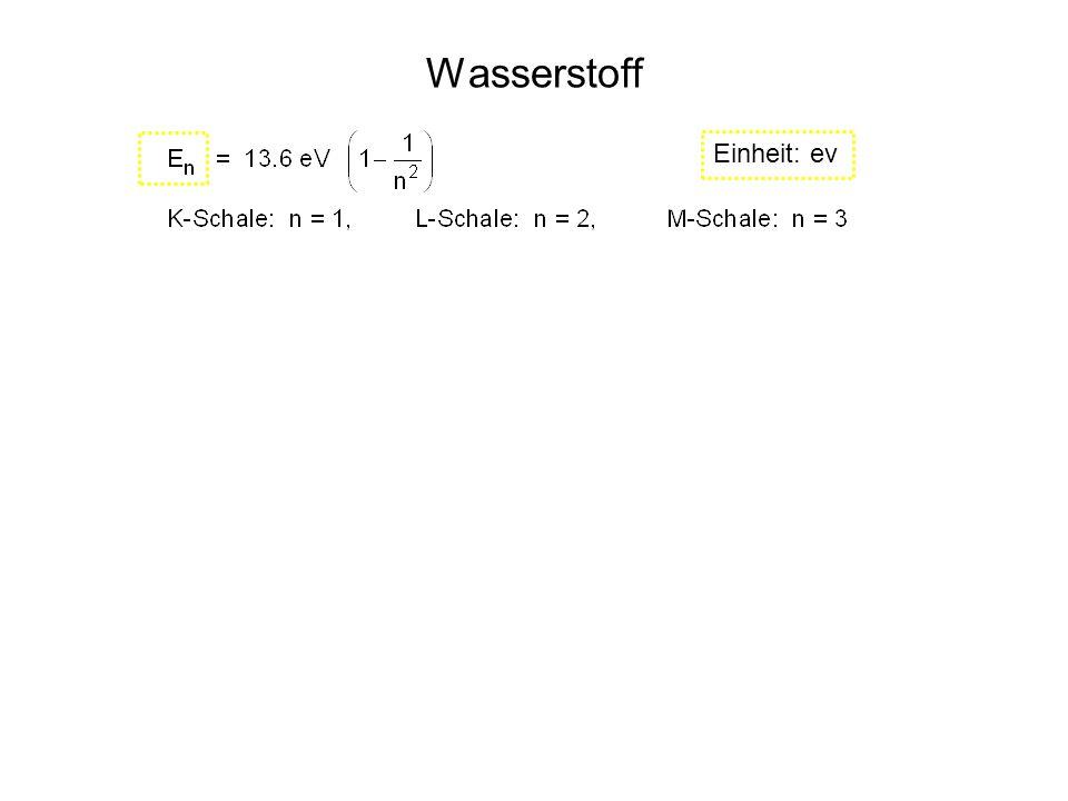 Wasserstoff Einheit: ev n: tiefere Schale m: höhere Schale Einheit: J