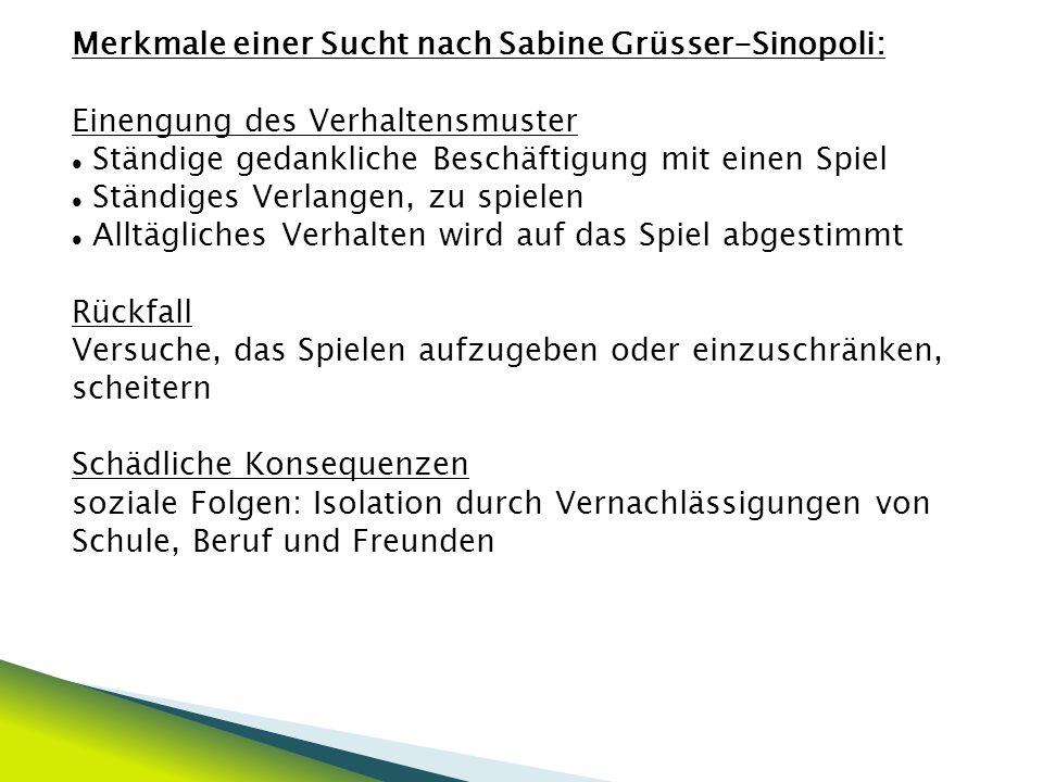 Merkmale einer Sucht nach Sabine Grüsser-Sinopoli: