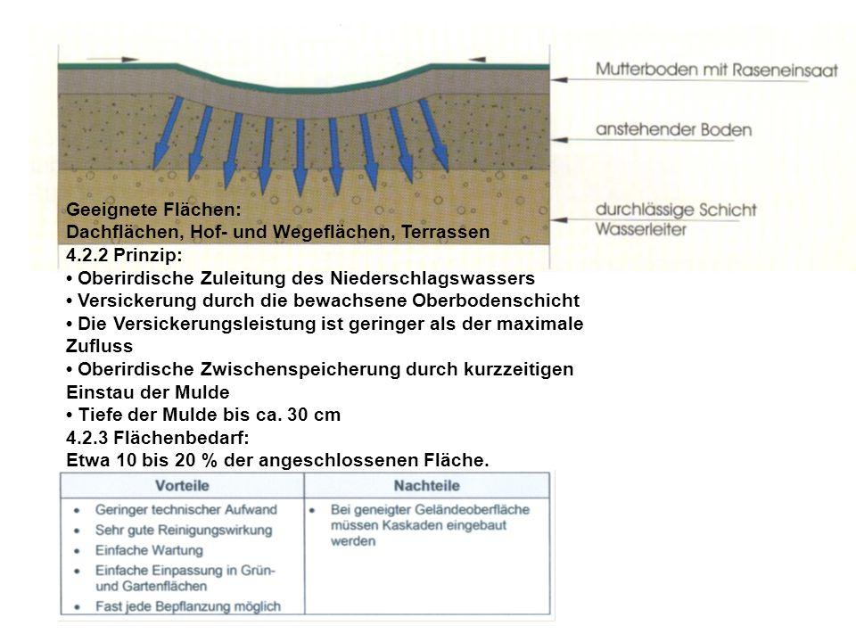 Geeignete Flächen: Dachflächen, Hof- und Wegeflächen, Terrassen. 4.2.2 Prinzip: • Oberirdische Zuleitung des Niederschlagswassers.