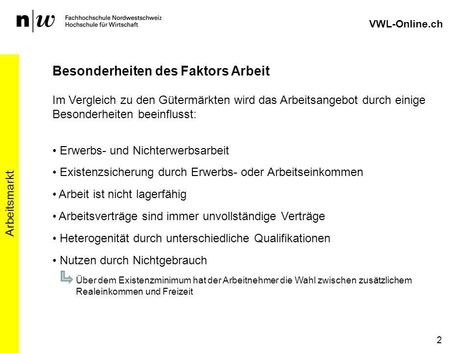VWL-Online.ch Besonderheiten des Faktors Arbeit