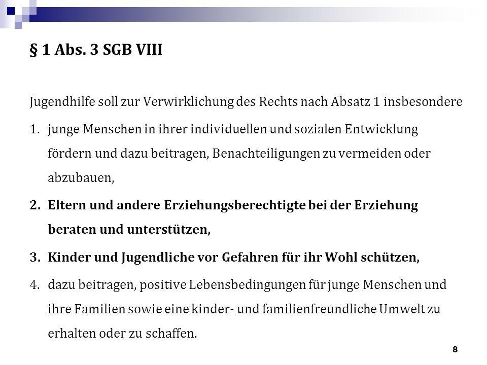 § 1 Abs. 3 SGB VIII Jugendhilfe soll zur Verwirklichung des Rechts nach Absatz 1 insbesondere.
