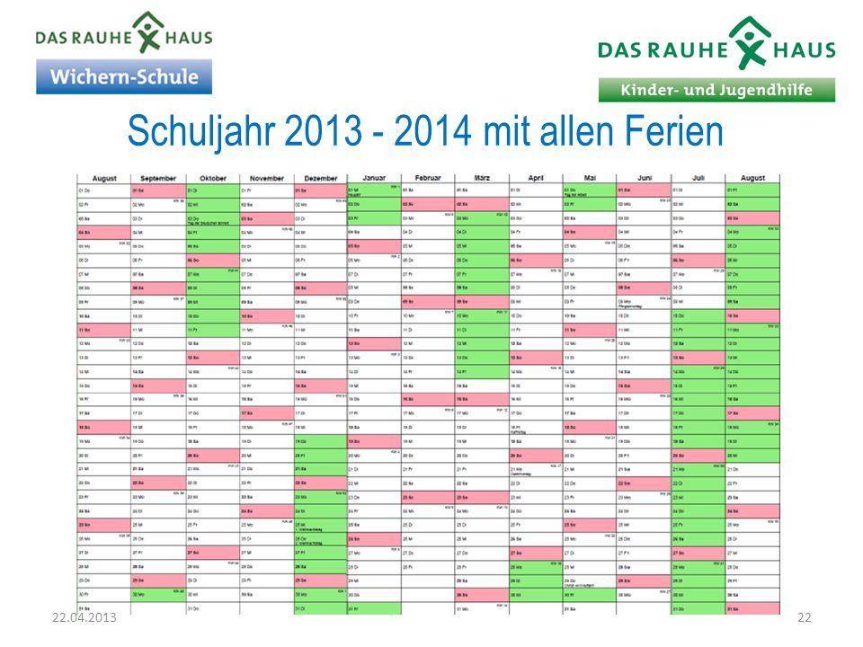 Schuljahr 2013 - 2014 mit allen Ferien