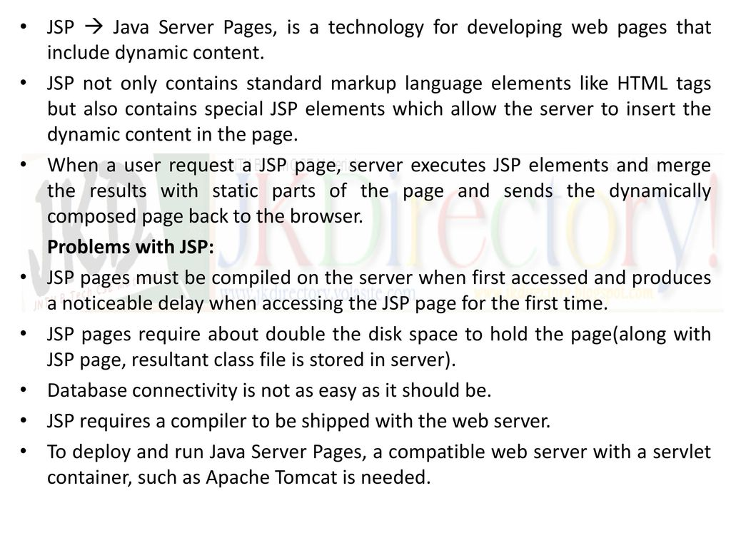 Unit iii introduction to php the problems with other technologies jsp java server pages is a technology for developing web pages that include dynamic baditri Gallery