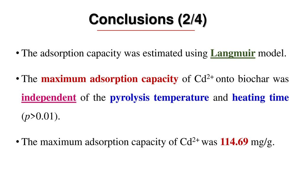 Conclusions (2/4) The adsorption capacity was estimated using Langmuir model.