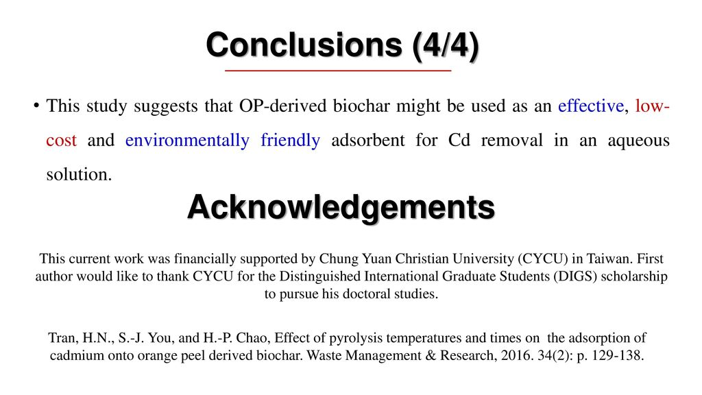 Conclusions (4/4) Acknowledgements