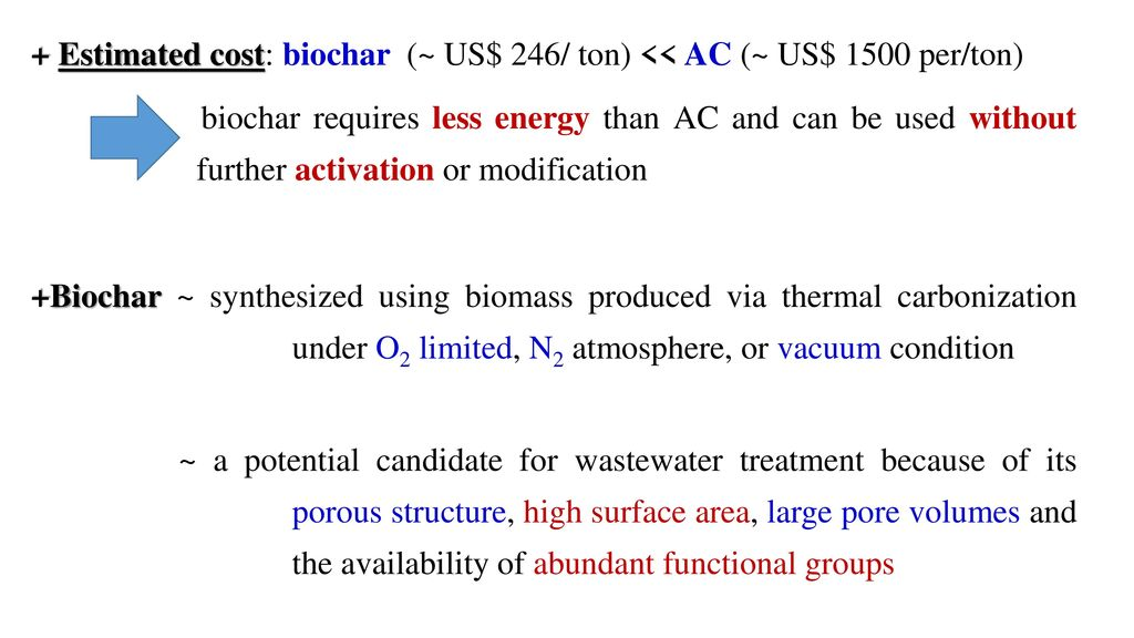 + Estimated cost: biochar (~ US$ 246/ ton) << AC (~ US$ 1500 per/ton) biochar requires less energy than AC and can be used without further activation or modification +Biochar ~ synthesized using biomass produced via thermal carbonization under O2 limited, N2 atmosphere, or vacuum condition ~ a potential candidate for wastewater treatment because of its porous structure, high surface area, large pore volumes and the availability of abundant functional groups