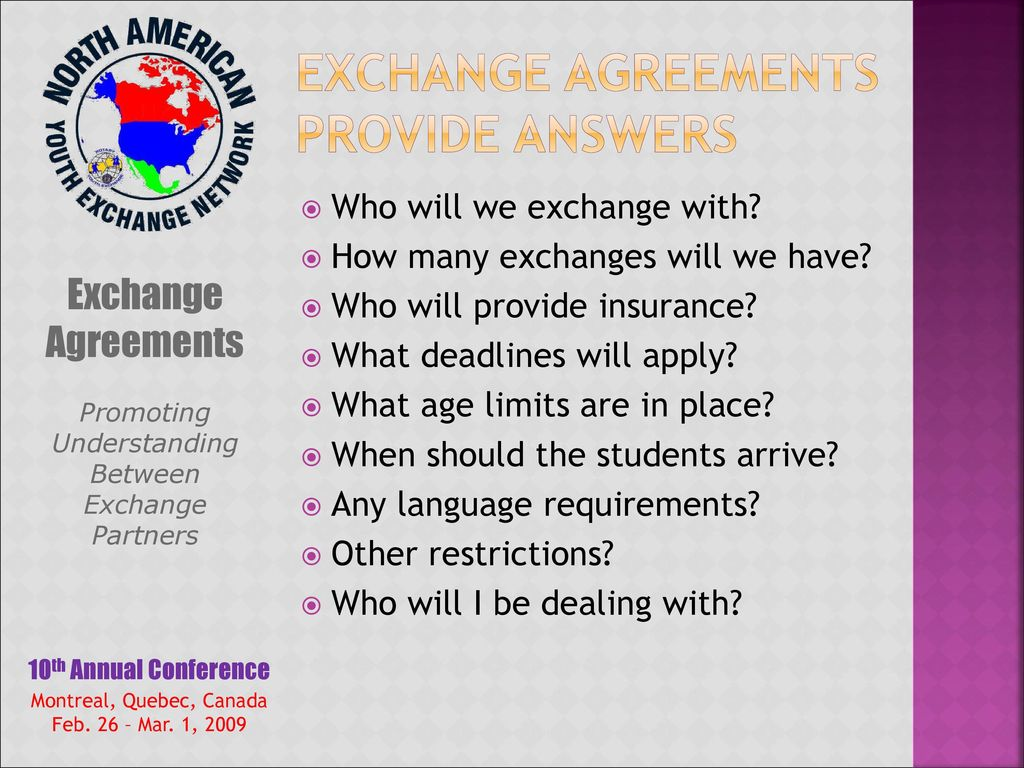 2 Exchange Agreements Provide Answers