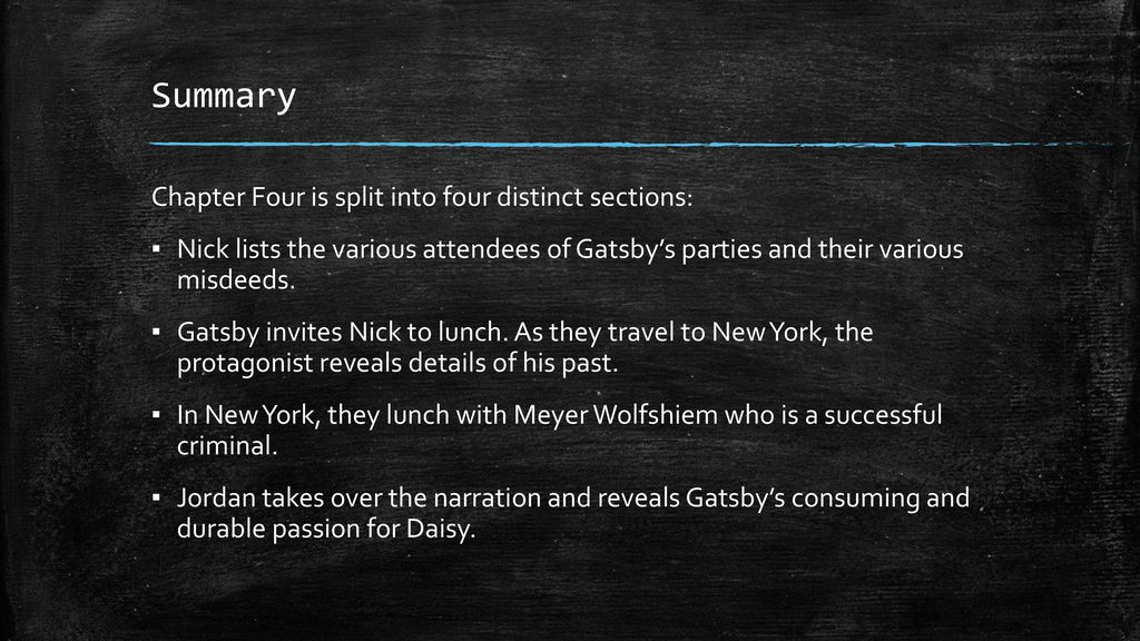 The Great Gatsby\' Chapter Four. - ppt download