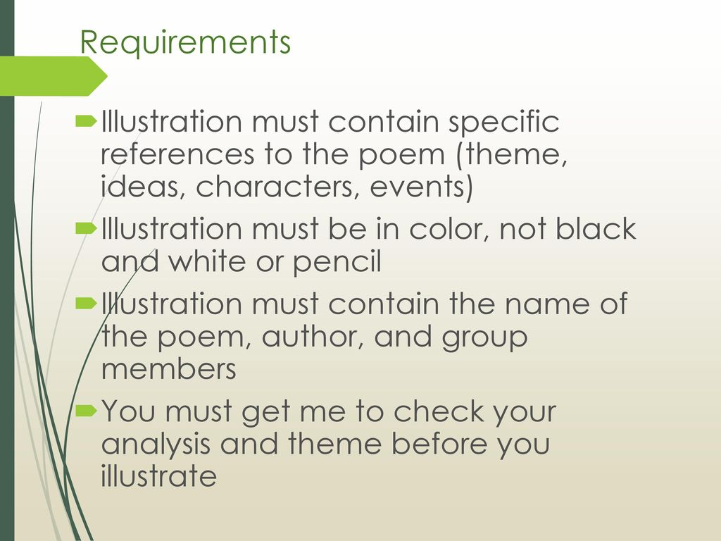 The adventures of huckleberry finn ppt download requirements illustration must contain specific references to the poem theme ideas characters biocorpaavc Image collections