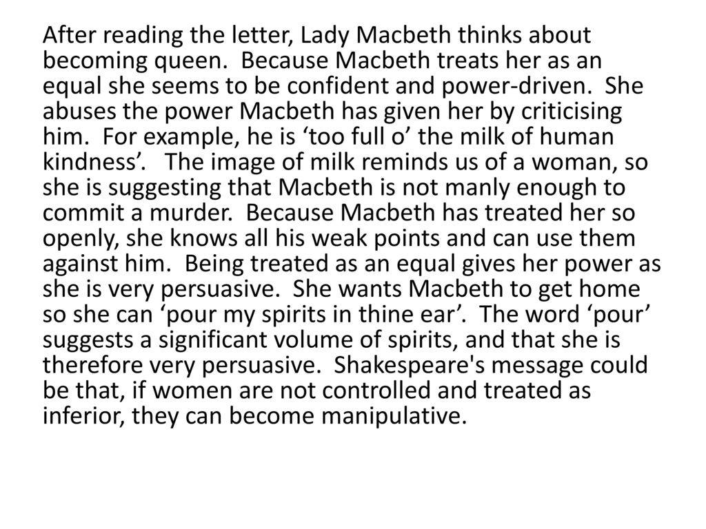 lady macbeth power essays Discuss the importance of lady macbeth's influence on her husband lady macbeth possesses the power to influence her husband's decisions in a negative manner related gcse macbeth essays.
