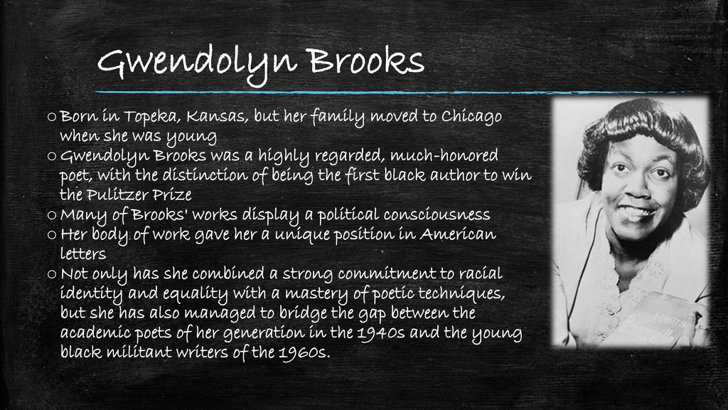 the mother gwendolyn brooks research paper Brooks' mother had taught at the topeka school that later  gwendolyn brooks topic gwendolyn elizabeth  gwendolyn brooks and willard motley wrote for the paper.
