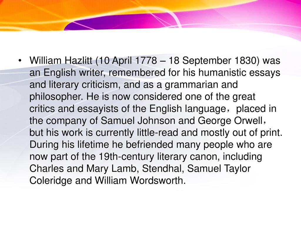 on going a journey by william hazlitt ppt video online  3 william