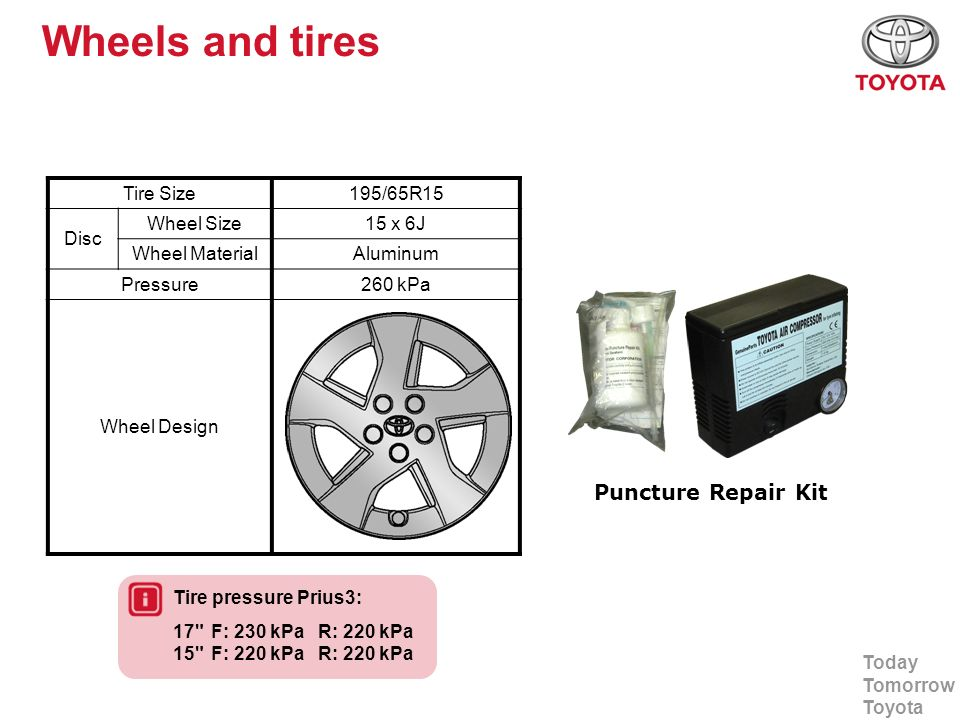 Wheels and tires Puncture Repair Kit Tire Size 195/65R15 Disc