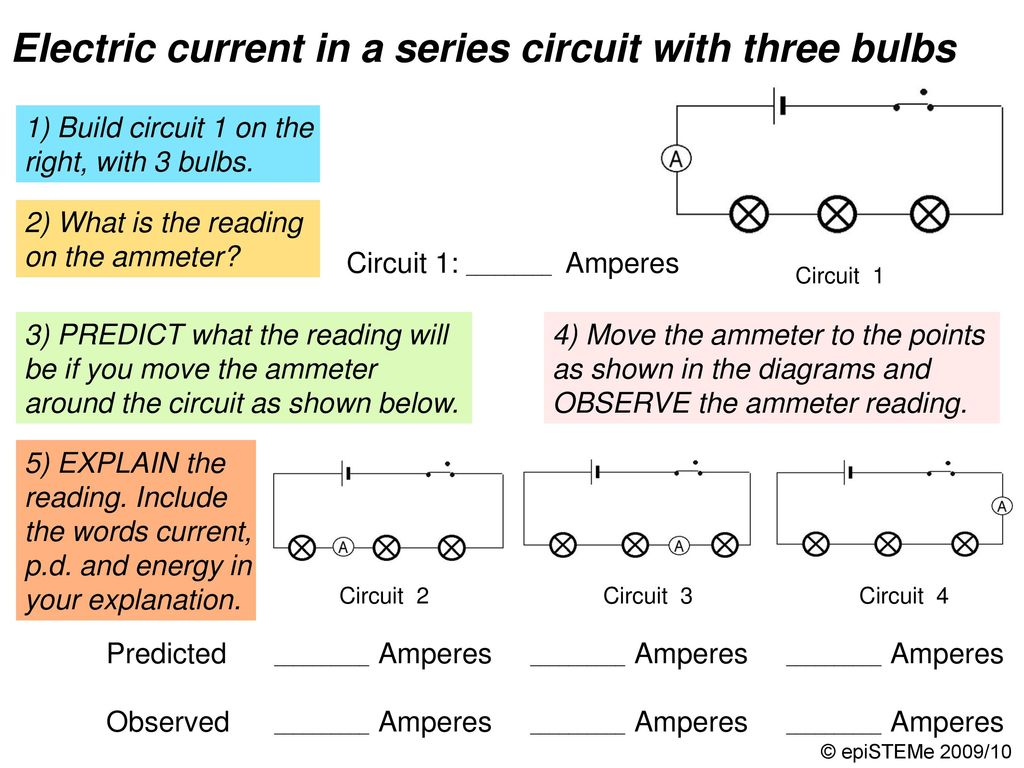 Four Circuits Draw A Line From Each Electrical Circuit To The Diagram Of Simple Series With An Ammeter And Voltmeter Pd Voltage In Three Bulbs