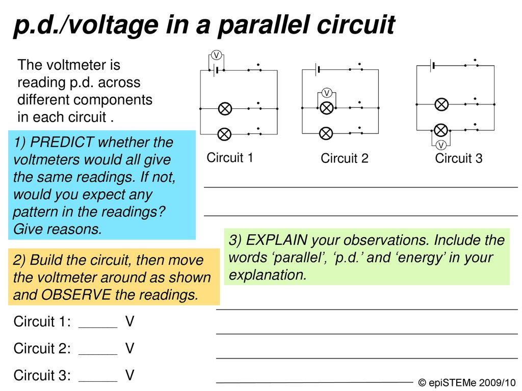 Four Circuits Draw A Line From Each Electrical Circuit To The Series With 3 Bulbs Then Three Bulb Electric Current And Pd Voltage In Parallel