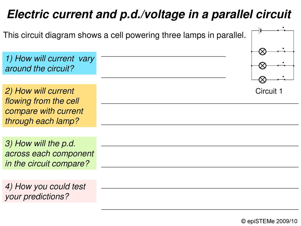 Four Circuits Draw A Line From Each Electrical Circuit To The What Happens Current In Other Lamps If One Lamp Series Electric And Pd Voltage Parallel Continued