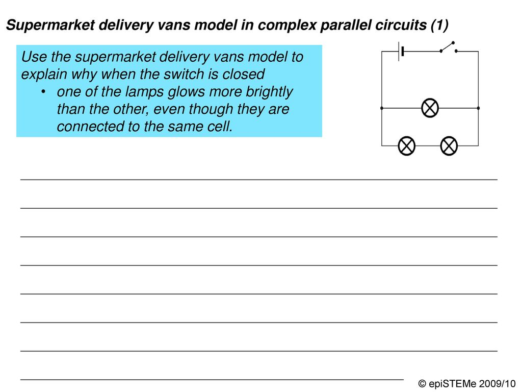 Four Circuits Draw A Line From Each Electrical Circuit To The Series 1 In Which Bulbs Will Lit Up Brighter 2 Supermarket Delivery Vans Model Complex Parallel