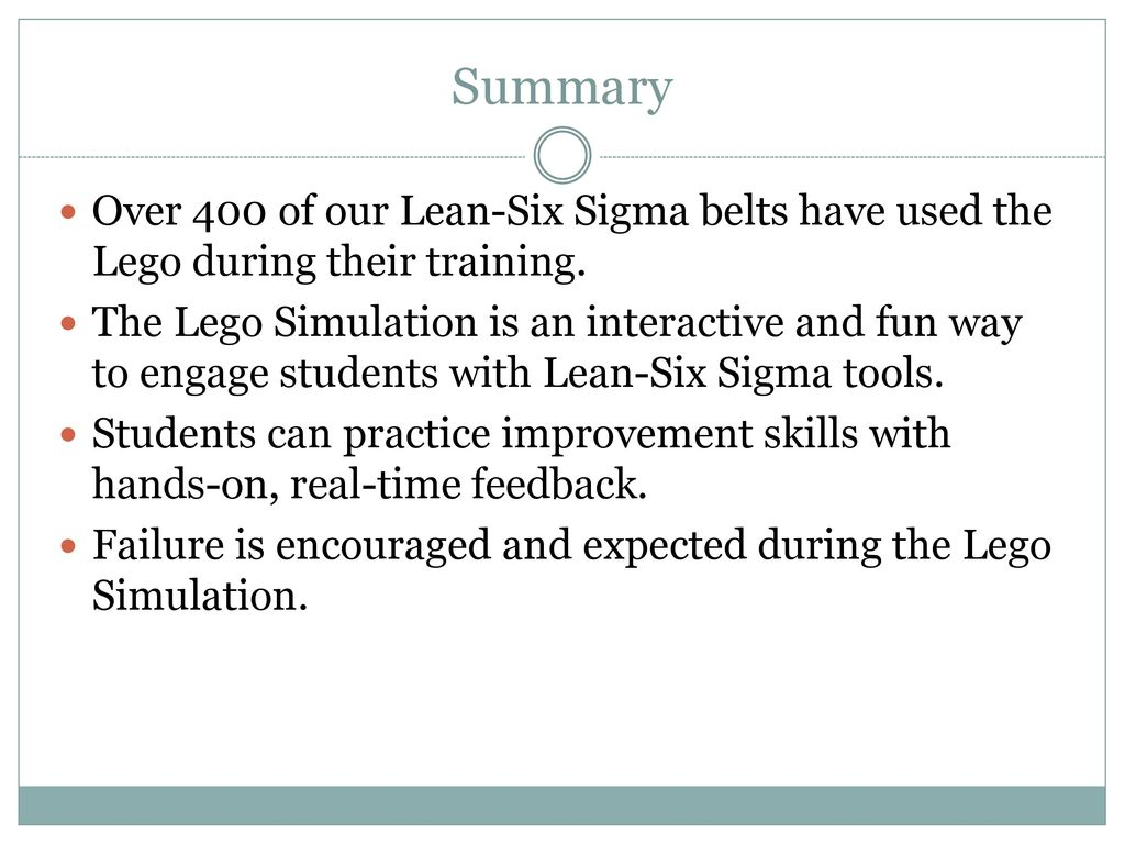 Integrating a lego simulation into a lean six sigma belt training summary over 400 of our lean six sigma belts have used the lego during their 1betcityfo Images