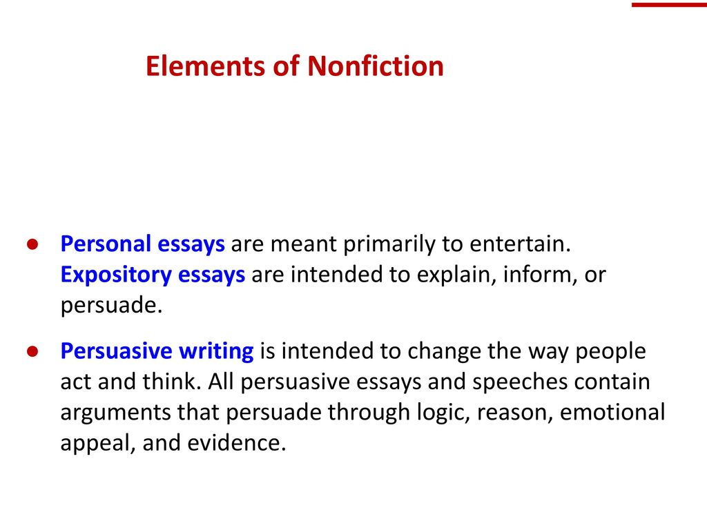 elements of nonfiction essay The elements of fiction are the fundamental principles of writing  than non-fiction and work far better at  those are the 18 elements of fiction writing.