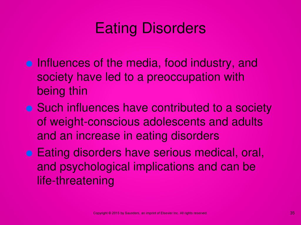 the medias influence on eating disorders The media and its effect on young women is increasingly noted as a factor in the development of eating disorders bombarded with images of what the 'perfect woman' should look like in the fashion media perspective, young women can often feel the pressure to lose sometimes excessive amounts of weight.