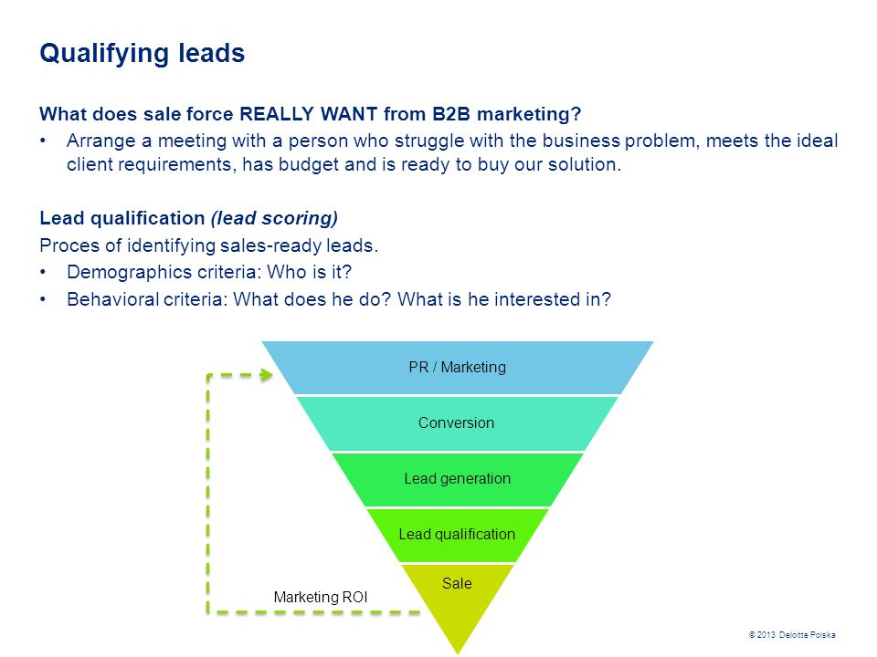 Qualifying leads What does sale force REALLY WANT from B2B marketing