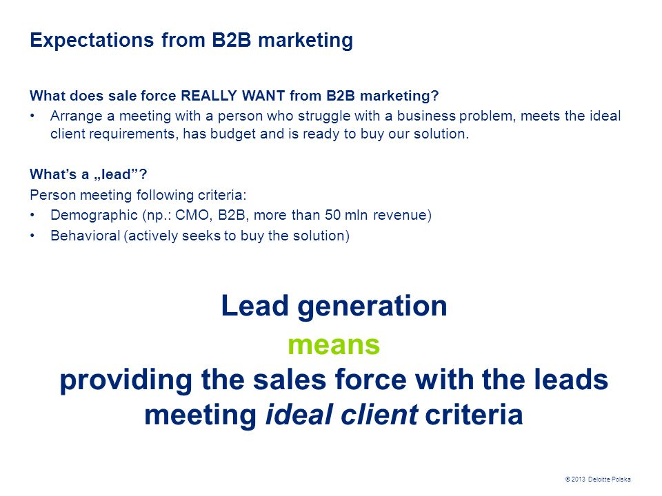 Expectations from B2B marketing