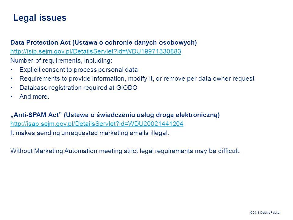 Legal issues Data Protection Act (Ustawa o ochronie danych osobowych)