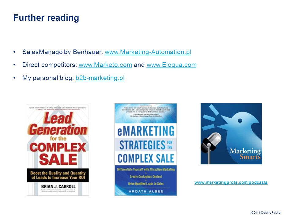 Further reading SalesManago by Benhauer: www.Marketing-Automation.pl