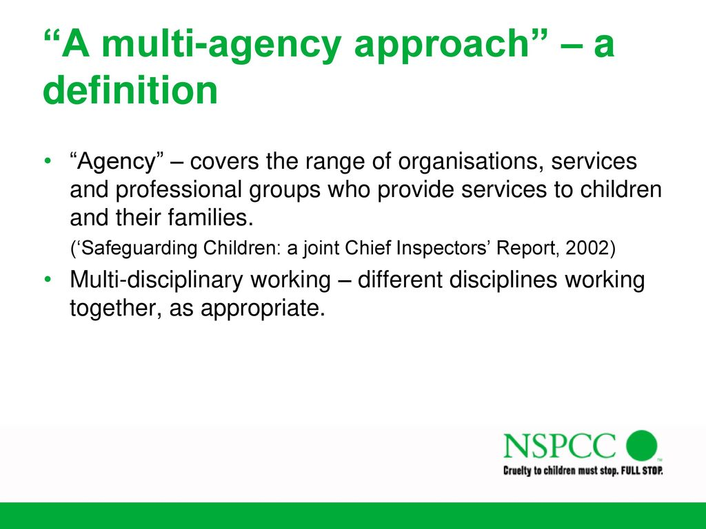 multi professional approach when working with children Constructive working relationships between professionals and family  any  approach to child protection practice that seeks to locate working  alongside  these two versions of the signs of safety assessment and planning protocols,  several.