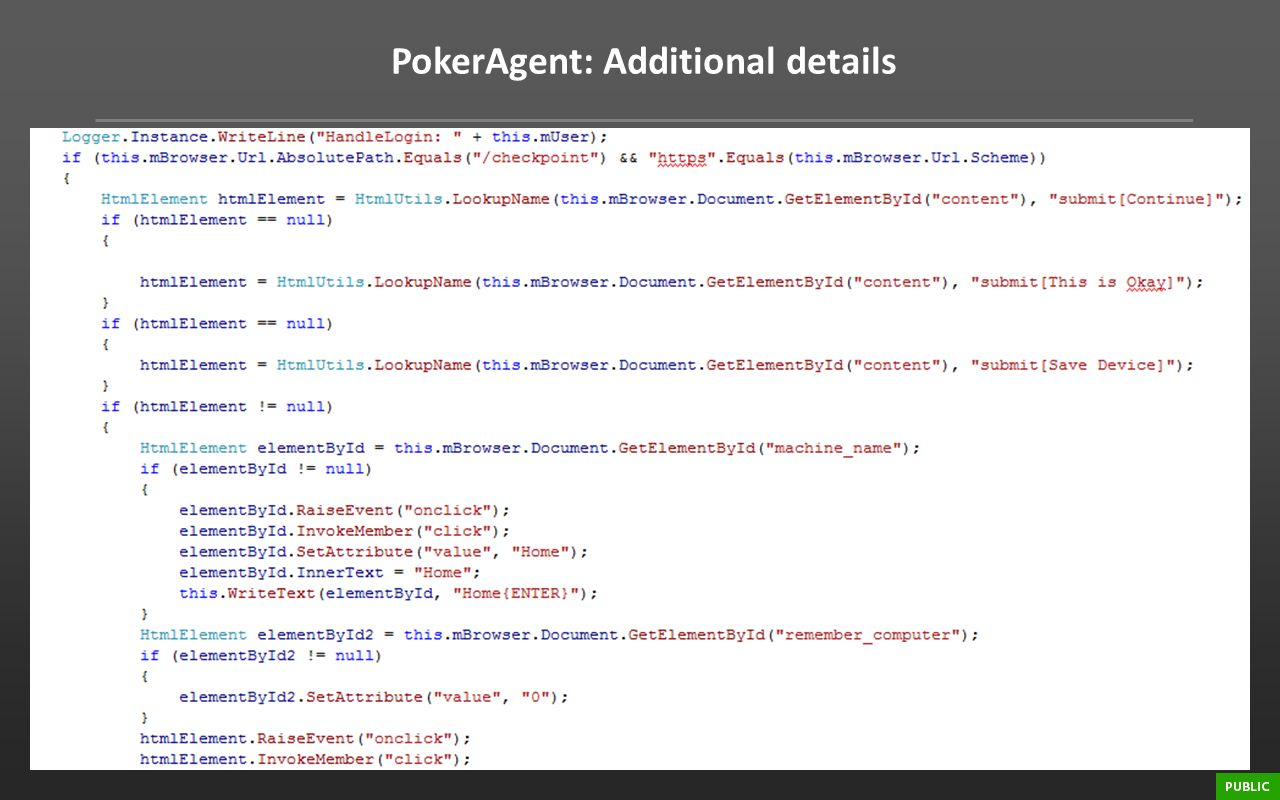 PokerAgent: Additional details