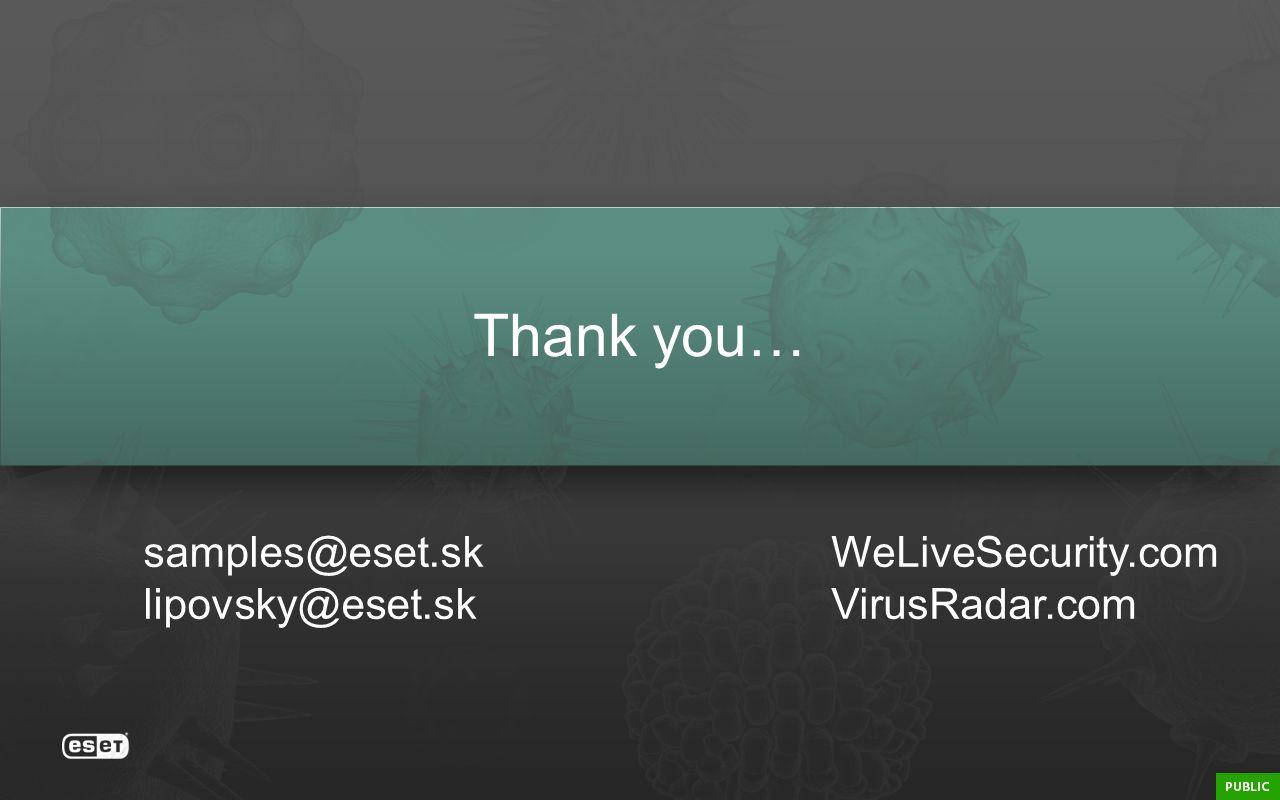 Thank you… samples@eset.sk lipovsky@eset.sk WeLiveSecurity.com