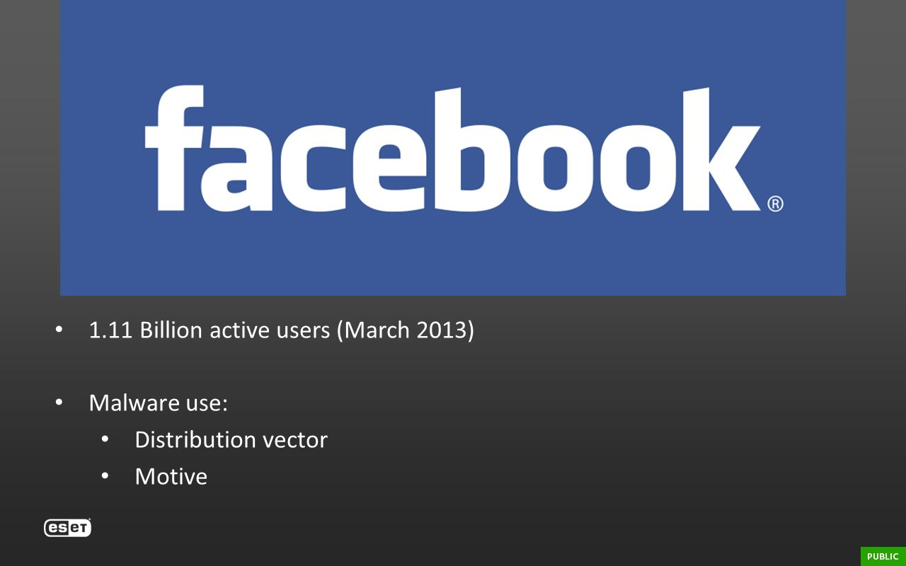 Facebook 1.11 Billion active users (March 2013) Malware use: