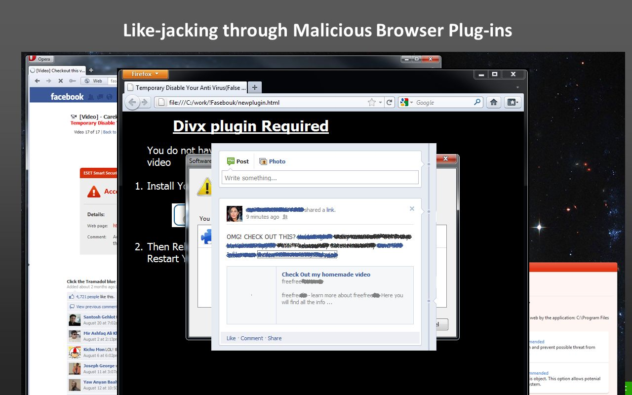 Like-jacking through Malicious Browser Plug-ins