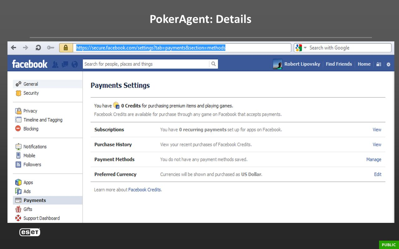 PokerAgent: Details Credit card info. https://secure.facebook.com/settings tab=payments&section=methods.