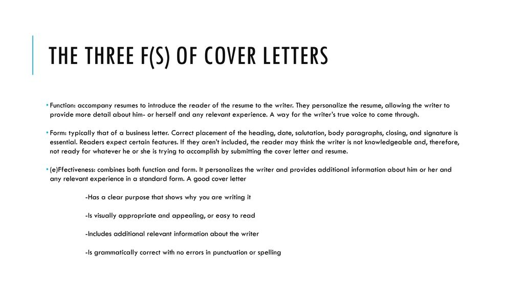 The Three F(s) Of Cover Letters