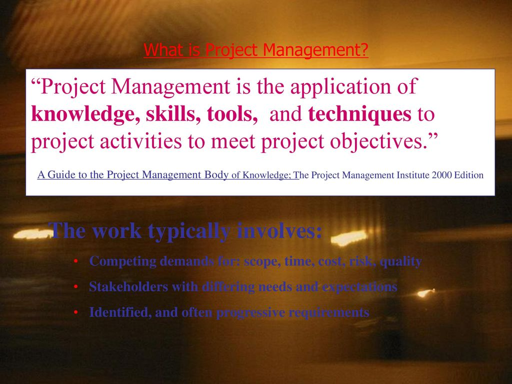 introduction to project management Course overview in this course, you will be introduced to the project management fundamentals and key initiatives for cost, integration, quality, scope, and time management for self-paced learning, you will have access to this course for 12 months from the purchase date.