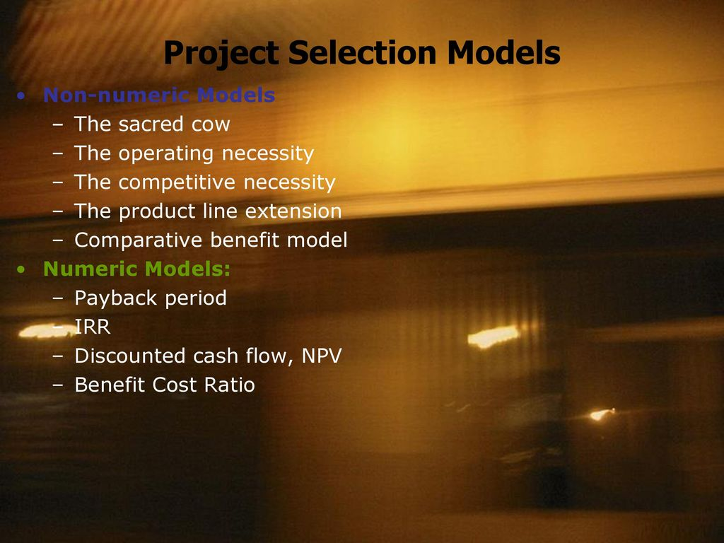 non numeric methods of project selection Non numeric methods of project selection  project selection models jose rodriguez qso-640 dr steven a coleman 11/30/14 project selection models in many organizations, the successful.