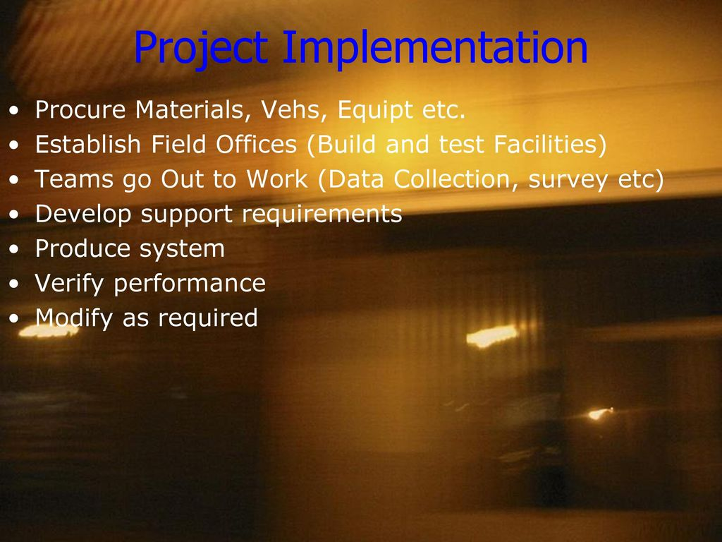project implementation control and termination Project monitoring, evaluation, and control 16 the project earned value management system 17 project termination 18 project leadership 19 project communications 20 successful project teams 21 continuous improvement through projects 22.
