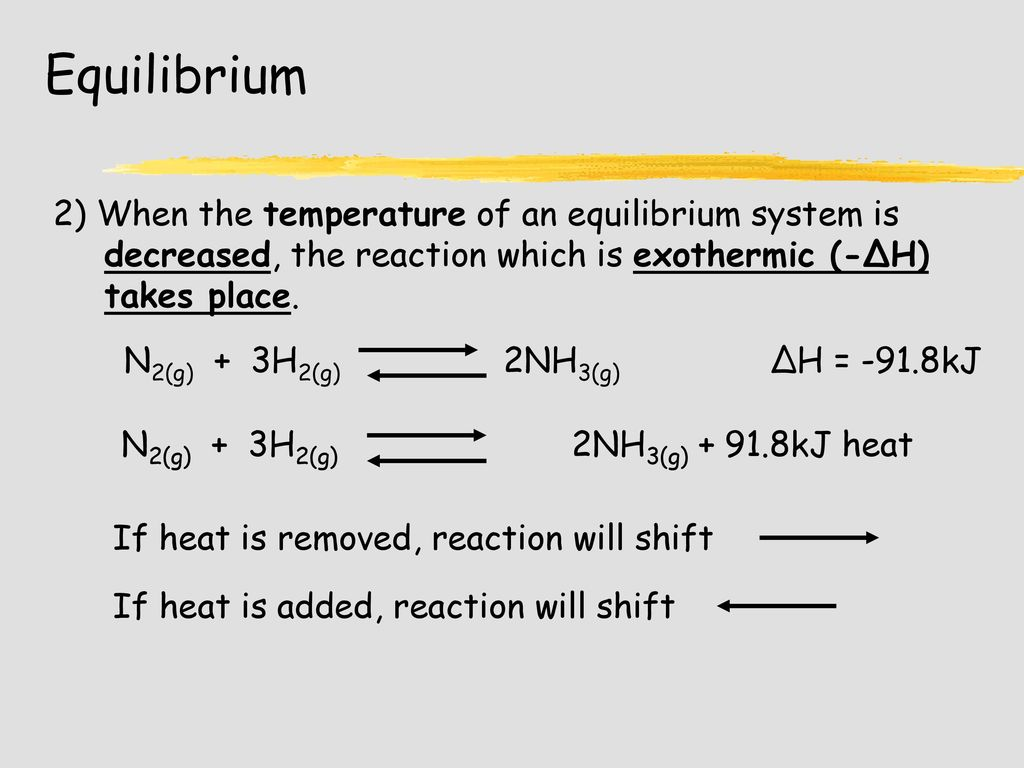 hydrogen and equilibrium shift If hydrogen had been removed from the system, the equilibrium would shift to the left in an attempt to make more of it we could prove mathematically that it will be unable to replenish all of it and that the new equilibrium concentration of hydrogen would be lower than it was in the original equilibrium.