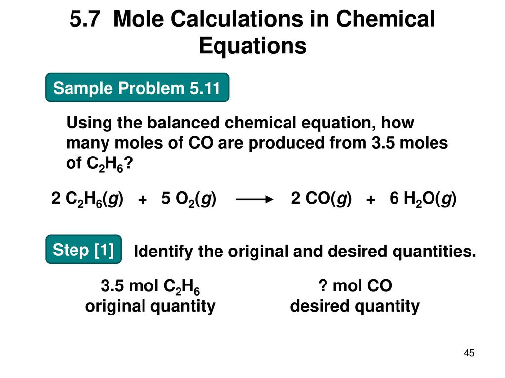 how to find moles in a chemical equation