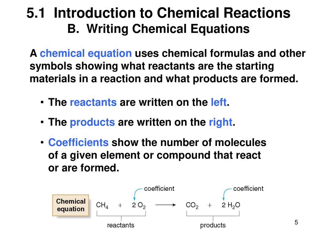 Chapter 5 lecture outline ppt download 51 introduction to chemical reactions b writing chemical equations biocorpaavc Choice Image