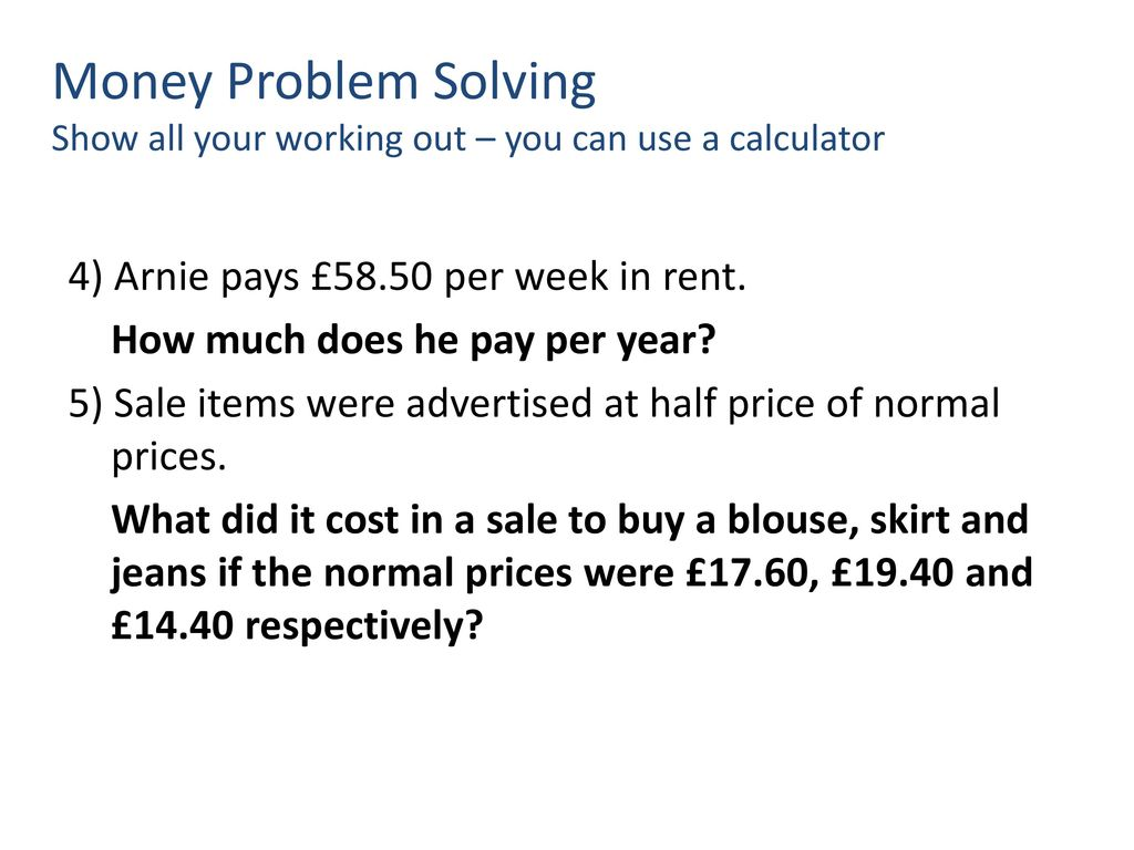 Problem solving with decimals ppt download 3 money nvjuhfo Gallery