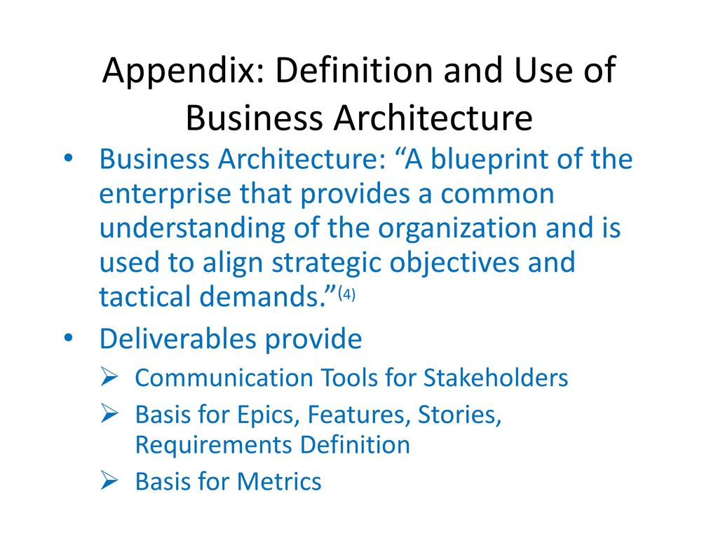 Managing safe with business architecture ppt download appendix definition and use of business architecture malvernweather Images