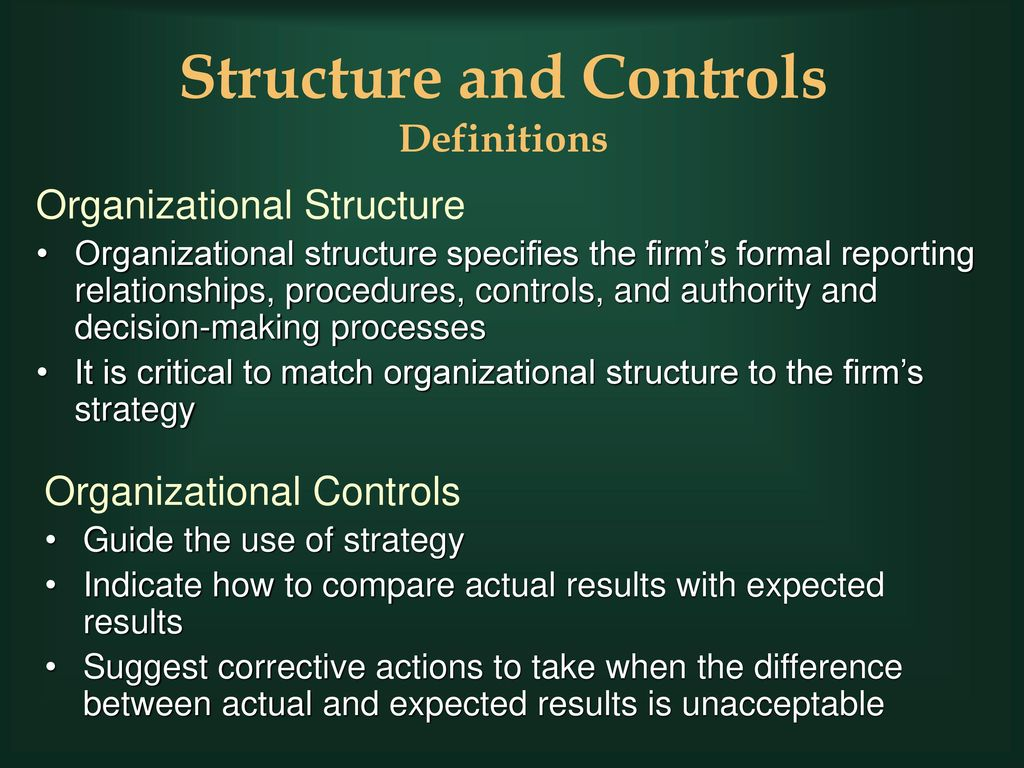 organizational controls and structure in business Complexities and uncertainties in the business environment make it necessary to design the organization structure and management control system in such a way that the benefits earned from operating in numerous countries are higher than the costs incurred.