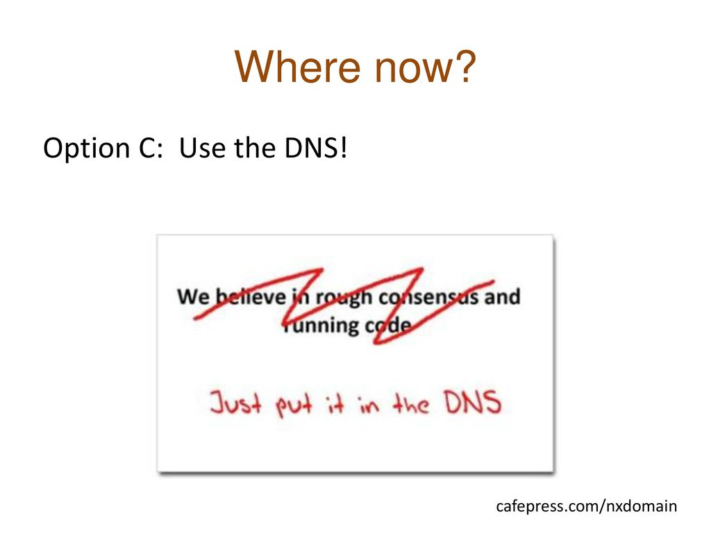 Where now Option C: Use the DNS! cafepress.com/nxdomain