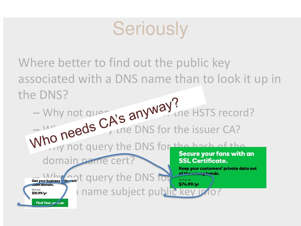 Seriously Where better to find out the public key associated with a DNS name than to look it up in the DNS