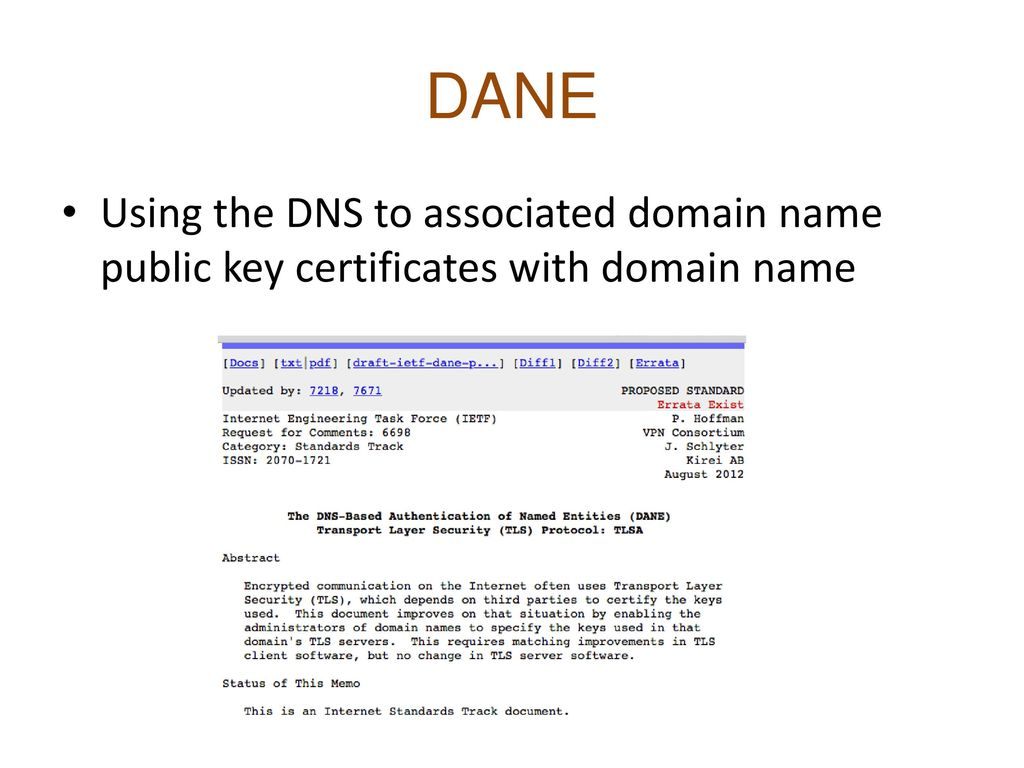DANE Using the DNS to associated domain name public key certificates with domain name