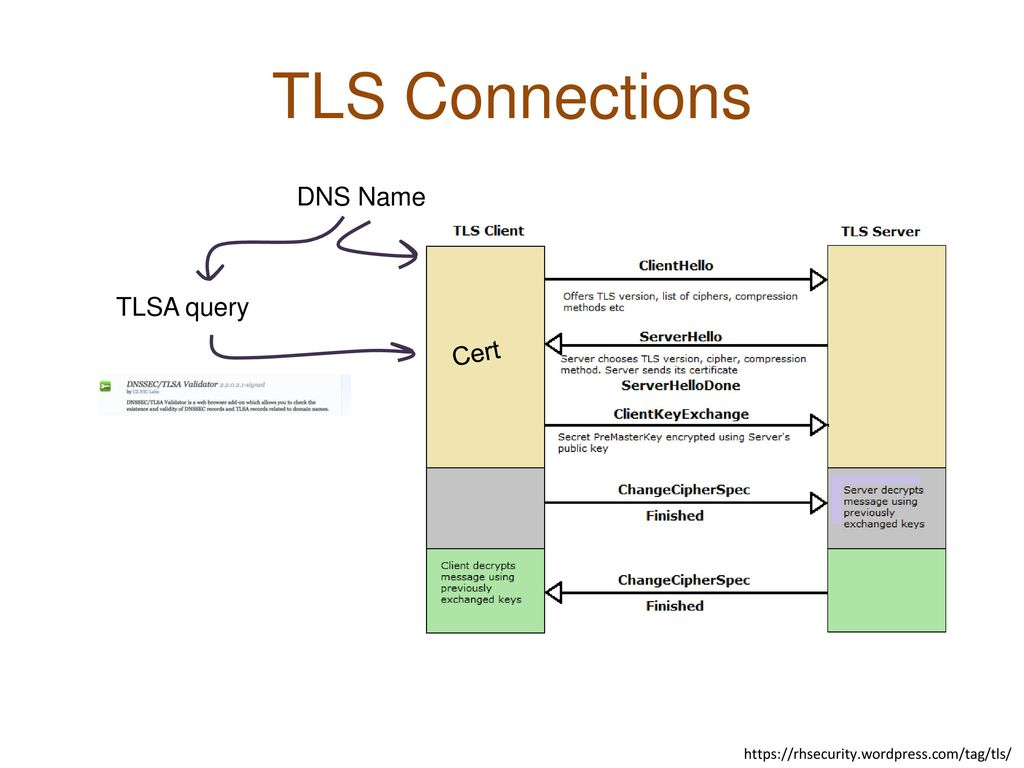 TLS Connections DNS Name TLSA query Cert