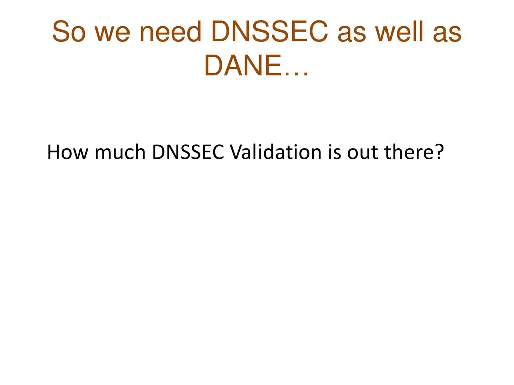 So we need DNSSEC as well as DANE…